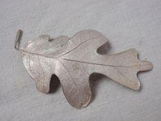 Signed Iversen. Silver oak tree leaf. | eBay!