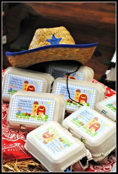Favors at a Farm Party #farm #partyfavors best part is the egg containers, could also be used to serve snacks!