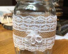 Set of 10 Rustic Burlap & Lace Mason Jar Sleeves