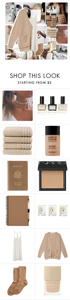 """Na'mastay in bed"" by puhizaxox ❤ liked on Polyvore featuring Balmain, Christy, MAKE UP FOR EVER, Royce Leather, NARS Cosmetics, Jo Malone, Dolce Vita, Organic, Bamford and Nails Inc."
