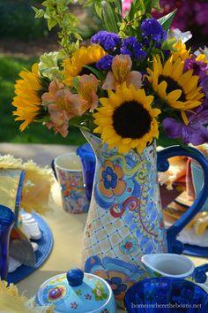 Sunflower arrangement in pitcher of Merisella Dinnerware by Pfaltzgraff | homeiswheretheboatis.net #tablescape