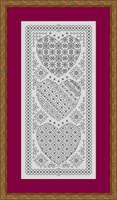 This chart is a Blackwork embroidery design in our Blackwork Heart series The design is worked in backstitch and has been designed for 14 hpi Aida but sizes and thread amounts are given for different thread counts. Design area is 4.6in x 10.5in (11.6 x 26.5cm) It can be used to produce a picture, cushion panel, bag etc. The hearts can be used individually to make cards. Try using different coloured thread. Spaced dyed and variegated also work well, darker or medium shades work best. Light…