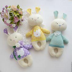 Купить Зайки - малыши. - мятный, желтый, сиреневый, белый, зайка, зайчик, зайцы, зайка игрушка