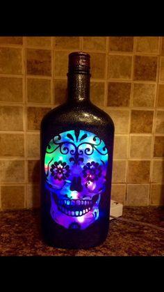 Sugar Skull bottle lamp by CustomBottleDesign on Etsy
