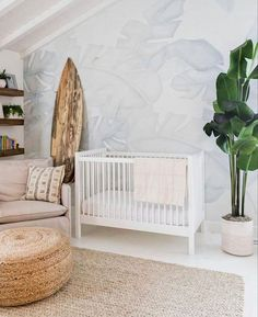 Anewall offers green palm leaf wallpaper including our Bird Paradise Mural. Add a vintage tropical feel to your space with this removable wall art. Beach Theme Nursery, Surf Nursery, Coastal Nursery, Tropical Nursery, Nursery Neutral, Nursery Themes, Nursery Room, Nursery Decor, Nursery Ideas