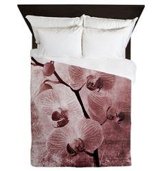 Pink Orchids Grunge Queen Duvet $175.00