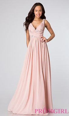 Sleeveless V-Neck Long Pink Prom Gown at PromGirl.com