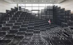 HG-A + live components build tectonic landscape with 1000 recycled pallets Tectonic Architecture, Architecture Office, Daegu, Temporary Architecture, Pallet Designs, Pallet Ideas, Pallet Projects, Funky Painted Furniture, Recycled Pallets