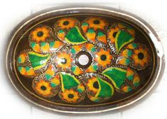 Sunflowers hand painted inside the basin of this marvelous copper bathroom sink are what it makes it so unique. Rustic Bathroom Sinks, Copper Bathroom, Rustic Bathroom Designs, Bathroom Styling, Master Bathroom, Bathroom Ideas, Copper Sinks, Rustic Design, Rustic Style