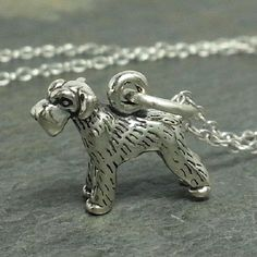 Tiny Schnauzer Necklace - 925 Sterling Silver - 3D Dog Puppy Charm Jewelry NEW $14.95