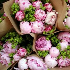 Wrap it up: Bouquets of pink peonies