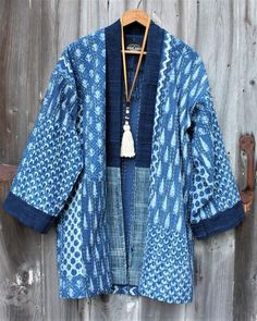 Plus Size Casual Long Sleeve Crew Neck Tops Batik Fashion, Boho Fashion, Womens Fashion, Fashion Design, Mode Kimono, Kimono Jacket, Japanese Outfits, Clothes Crafts, Pattern Fashion