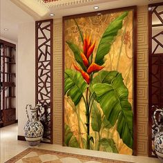 3d Wallpaper For Walls, Custom Wallpaper, 3d Wallpaper Decor, Wallpaper Wallpapers, Painting Banana, Tropical Art, Home Wall Decor, Flower Art, Fresco