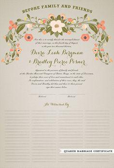 Quaker Marriage Certificate- Flower Garland