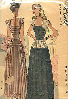 Uncut Vintage 40s Sewing Pattern, McCall 6403 , Evening Gown, Dress, sz 16/34