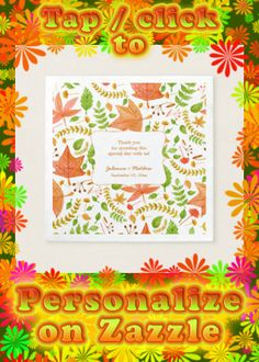 Shop Fall wedding reception napkins / thank you message created by lemontreecards. Personalize it with photos & text or purchase as is!