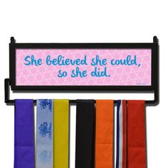 RunnersWALL She Believed She Could Medal Display | Running Medal Hangers | Running Home Decor | Wall Displays for Race Medals  #run #running #marathon #gift