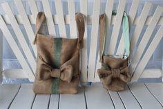 girl's burlap coffee bag purse messenger bag with bow and adjustable strap. $25.99, via Etsy.