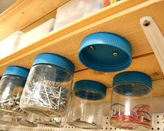 Organizing With Jars - organize your garage with jars