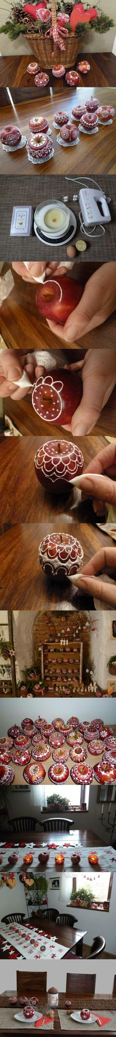 DIY Decorated Apples DIY Decorated Apples by diyforever Nordic Christmas, Christmas Holidays, Christmas Crafts, Christmas Decorations, Xmas, Christmas Ornaments, Advent, Mini Pinatas, Holiday Tree