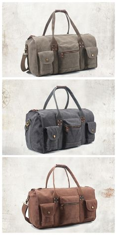 678cef65f94e Handmade Army Green Waxed Canvas Leather Travel Bag Duffle Bag Holdall  Weekender Bag FB07