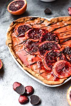 Easy Chocolate Drizzled Blood Orange Cream Tart