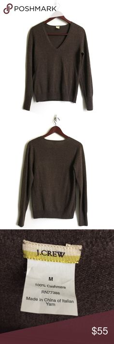 J. Crew Cashmere Sweater ▫️Style Name: J. crew Italian Cashmere V Neck Sweater ▫️Color: Brown ▫️Material: 100% Cashmere   ▫️True to Size ▫️Good Preowned Condition J. Crew Sweaters V-Necks