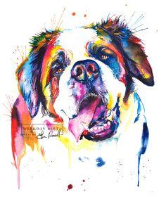 Colorful St. Bernard Watercolor Painting - Print of my original artwork by WeekdayBest on Etsy