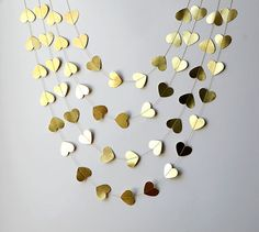 Gold Heart garland Valentines Day Decor by TransparentEsDecor