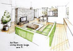 キミドリっ!! テレビボードおっきくしたいねコレ。 #建築パース #内観パース #手描きパース #archsketch #artarchitecture #artarchworks #archsketch_interior #sketch #copic #green #ldk