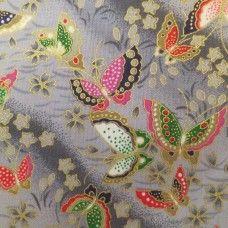Tissu japonais gris papillons et fleurs de cerisier Couleur Japon, Tissu  Mural, Tissus Japonais
