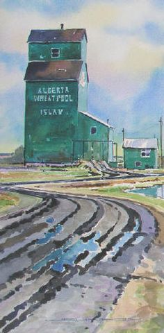 Gregg Johnson - Islay After the Rain, Islay, Alberta Farm Paintings, Watercolour Paintings, Watercolors, Alberta National Parks, Abandoned Farm Houses, Scenery Pictures, Canadian History, Love Images, Winter Landscape