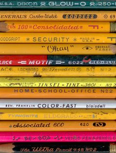 I enjoy writing with a pencil. Penne, Vintage School, Vintage Office, Typography, Lettering, Typographic Design, Pencil Boxes, School Supplies, Art Supplies