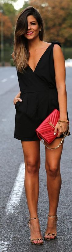 Black v-neck sleeveless shorts romper. Classy romper! Red YSL clutch. Gold strapped YSL clutch. Leopard strappy sandals. Stitch Fix 2016. Summer. Beautiful ombre hair.
