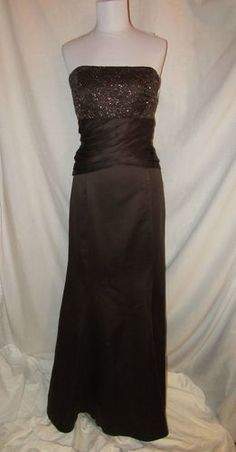 Sz 10 Caterina Chocolate Formal Evening Dress Beaded Bodice Strapless MOB NWT