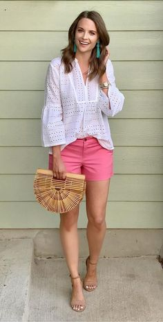 Cute #pink #shorts #ruffle Sleeves #white Top #highheels And #turquoise #earrings #summerfashion #summerstyle #womenfashion #fashion