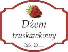 Naklejka na truskawkowy dżem Decoupage, Label, Strawberry, Templates, Fruit, Projects, Food, Tags, Pintura