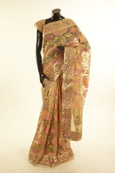 Banarsi- tissue net / tule light khakhi green brown saree with blouse