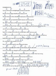 Summer of 69 (Bryan Adams) Guitar Chord Chart