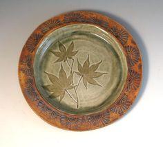 Ceramic Plate  Leaf Pattern  Handbuilt Pottery by Botanic2Ceramic