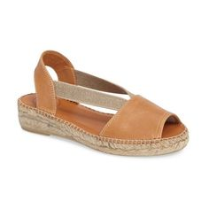 Women's Toni Pons Etna Espadrille Sandal (€96) ❤ liked on Polyvore featuring shoes, sandals, tan leather, vintage style shoes, genuine leather shoes, toni pons espadrilles, open toe sandals and open toe leather sandals