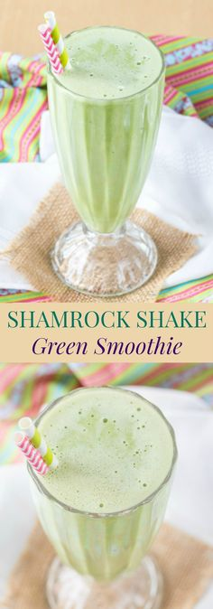Shamrock Shake Green Smoothie - that mint milkshake is popular around St. Patrick's Day, but indulge your craving the healthy way with this easy green smoothie recipe.   cupcakesandkalechips.com