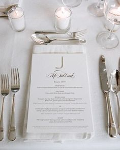 Chic Monogrammed Menu Card