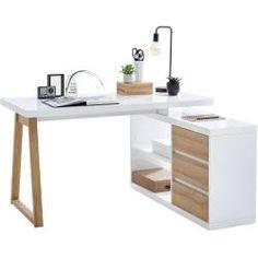 - Schreibtisch Fushana Farbe: Buche / Weiß / Champagne – 75 x 140 x 60 cm (H x B x T) Easy MöbelEa Stylife Corner Desk White, Brown, 3 Drawers, cm StylifeStylife - Furniture Combinations, Desk Shelves, Home Office Furniture Desk, Home Office Design, Sophisticated Furniture, Oak Desk, Office Furniture Desk, Desk, Furniture