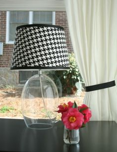 How to cover a lampshade in fabric.
