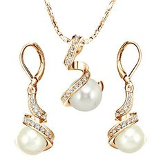 [Pearl Jewelry] Yoursfs Elegant Austrian Crystal Jewelry Sets Bridal 18k Gold Plated Leverback Earrings & Pendant Sets Grey Pearl Earrings and Necklace Set * Read more reviews of the product by visiting the link on the image.
