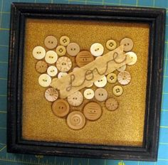 framed button art - The backing will be made from an old pillow case from my Mom's house. I will dye it with tea to make it look old.