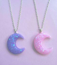 Kawaii Jewelry, Kawaii Accessories, Cute Jewelry, Jewelry Accessories, Cute Necklace, Moon Necklace, Magical Jewelry, Moon Jewelry, Creepy Cute