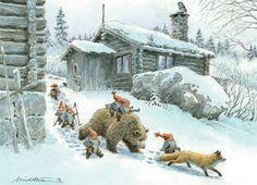 Eva Melhuish,Kjell E.Midthun,not for trade Illustrations, Illustration Art, Yule, Design Steampunk, Baumgarten, Winter Magic, Rabbit Art, Winter Scenery, Fox Art
