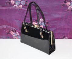 Hamilton 1950s All Leather Black Patent Vintage Handbag Suede & Elbief Frame
